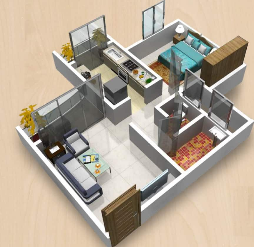 space saving floor plan for 1 bhk