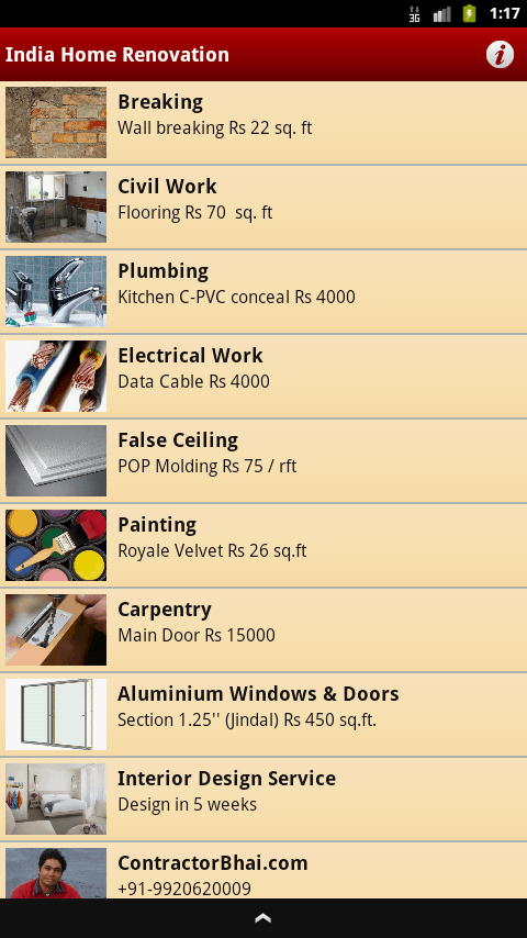 "Android App ""India home Renovation"""