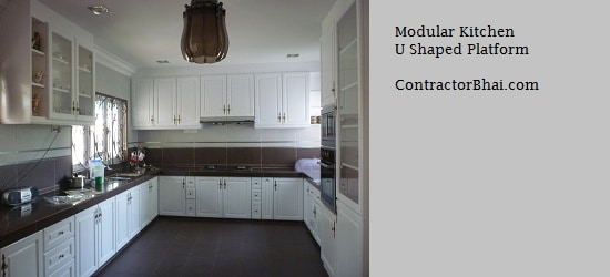 Modular Kitchen U Shaped Platform ContractorBhai Mumbai