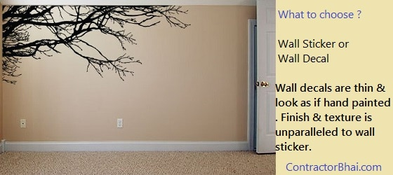 Indian Wall Decor - Wall Sticker vs wall decal - Contractorbhai