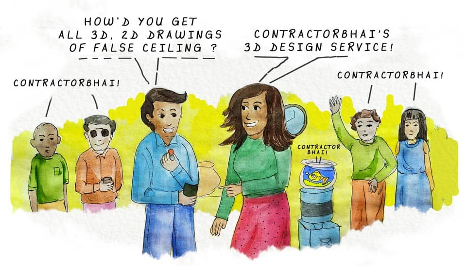 Contractorbhai 3d design service false ceiling cartoon