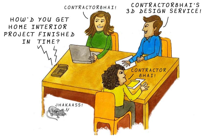 Contractorbhai 3d design service office cartoon