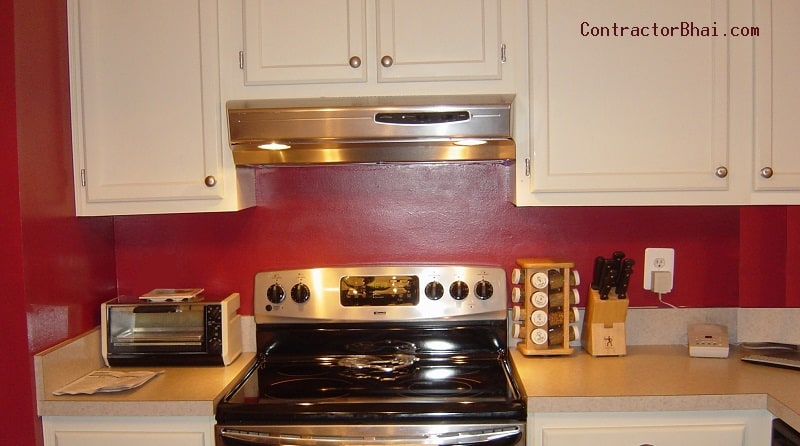 Distance between cooktop kitchen hood chimney