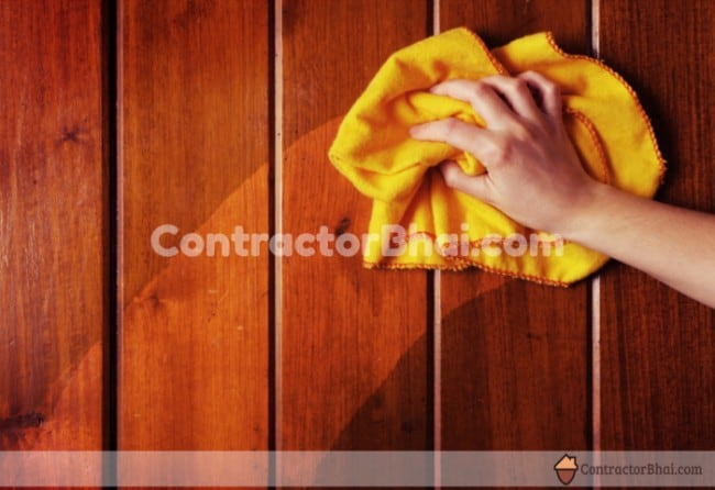 Contractorbhai-Cleaning-Wood-Surface-With-Lint-free-Cloth