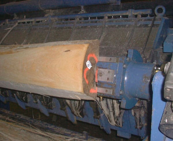 Log of Wood being Sliced to obtain Veneer