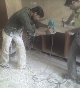Fabricator working on Acrylic solid surface Countertop