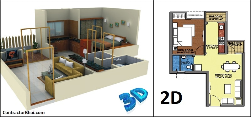 3d photo realistic images vs 2d drawings for home interior - 2d Interior Design