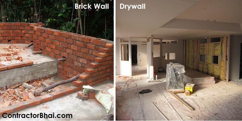 Drywall vs Conventional Brick Wall