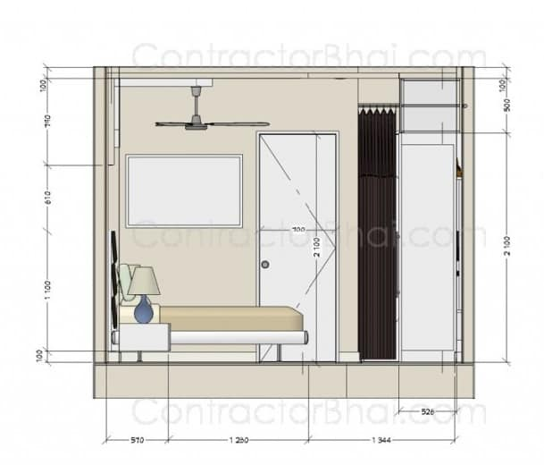 2D drawings measurements 3BHK Home Interior Ghaziabad