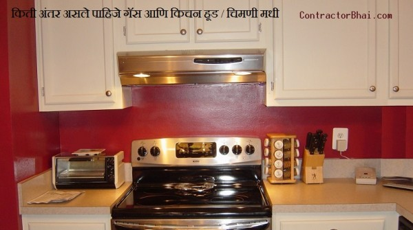 distance between cooktop kitchen hood chimney marathi