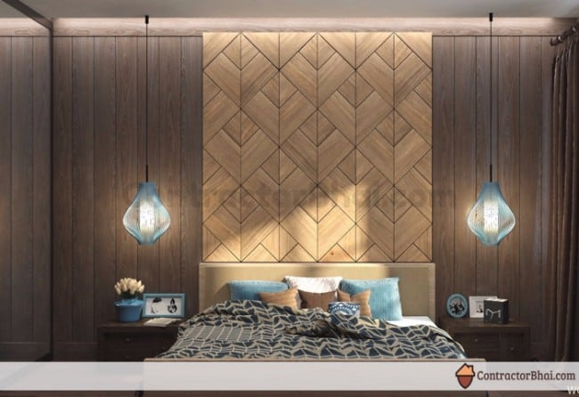 Contractorbhai wooden wall highlighter for bed backwall