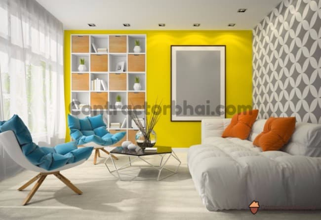 Contractorbhai-Bright-Paint-Color-for-Living-Room-Accent-Wall
