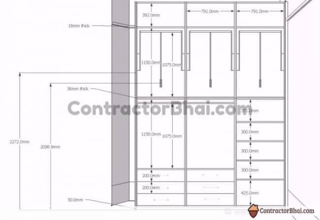 Contractorbhai Standard Size Wardrobe Interiors