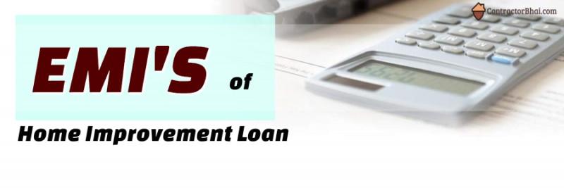 EMI on Home Home Improvement Loans