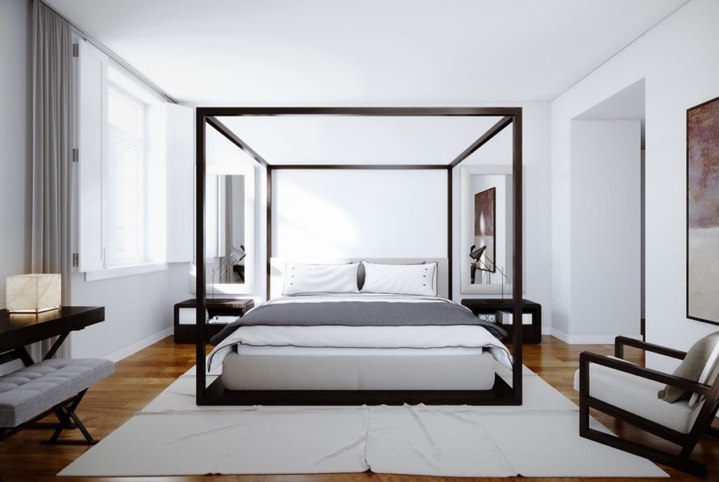 black stencil king four poster bed